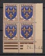 France - 1944 - N°Yv. 604 - Armoirie De L'Orléanais - Bloc De 4 Coin Daté - Neuf Luxe ** / MNH / Postfrisch - Angoli Datati