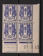 France - 1945 - N°Yv. 673 - Chaines 50c Bleu - Bloc De 4 Coin Daté - Neuf Luxe ** / MNH / Postfrisch - 1940-1949