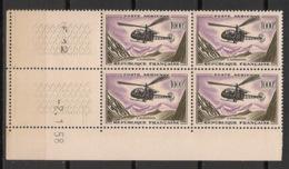 France - 1958 - PA N°Yv. 37 - Hélicoptère Alouette - Bloc De 4 Coin Daté - Neuf Luxe ** / MNH / Postfrisch - Poste Aérienne