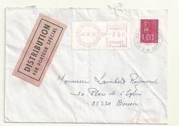 MARIANNE DE BECQUET  SUR LETTRE  DISTRIBUTION PAR PORTEUR SPECIAL - 1971-76 Marianne Of Béquet