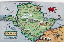 Wales Map Of Anglesey Salmon Postcard 1965 Used - Anglesey