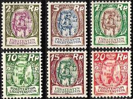 """Liechtenstein 1924/7:""""Winzer & Schlosshof Vaduz"""" Zu 64-69 Mi 65-70 Yv 63-65+67-69 ** MNH (Zumstein 2018 CHF 210.00 -50%) - Liechtenstein"""