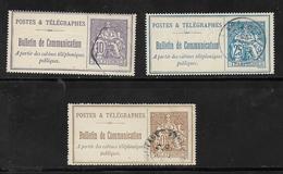 France Timbres  Télégraphes N°22 + 24 Et 25 Oblitérés - Telegraph And Telephone