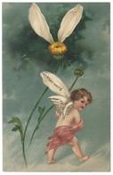 Carte Fantaisie Relief Gaufrée Embossed Cpa Ange Angelot Fleur Marguerite Klein Wenig - Andere