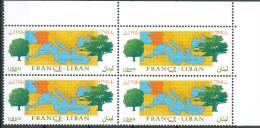 Lebanon 2008 Mi. 1501 MNH Stamp - FRANCE-LEBANON RELATIONS - Joint Issue Between Both Countries - Corner Blks/4 - Lebanon
