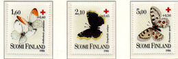 PIA - FINLANDIA  - 1986 : Pro Croce Rossa- Farfalle - (Yv 957-59) - Primo Soccorso