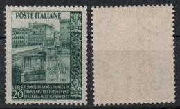 """Italia - Repubblica 1949 """"Ricostruzione Del Ponte Di S. Trinità A Firenze L. 20"""" Nuovo - 6. 1946-.. República"""