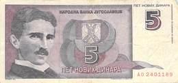 5 Dinar Banknote Jugoslawien 1994 VF/F (III) - Jugoslawien