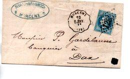 France : Landes :Cachet Ferroviaire  Morcenx - Bayonne - 1849-1876: Période Classique