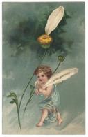 Carte Fantaisie Relief Gaufrée Embossed Cpa Ange Angelot Fleur Marguerite Oder Garnicht - Andere