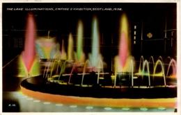 EXHIBITIONS - 1938 SCOTLAND EMPIRE EXHIBITION - GLASGOW - THE LAKE ILLUMINATIONS RP Gls109 - Exhibitions