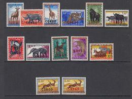 Congo 1960 Animals Ovptd 13v (6.50fr Both Ovptd (red & Black) ** Mnh (42937) - Republiek Congo (1960-64)