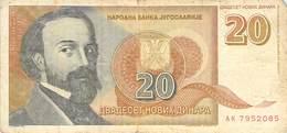 20 Dinar Banknote Jugoslawien 1994 VF/F (III) - Jugoslawien