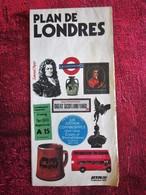 GREAT BRITAIN  / UK PLAN DE LONDRES OLD CARD Tourist Brochure -Vecchi Opuscoli Turistici --Ancien Dépliant Touristique - Roadmaps