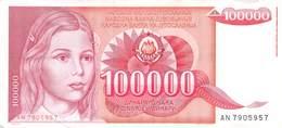 100 000 Dinar Banknote Jugoslawien 1989 VF/F (III) - Jugoslawien