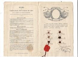 Missions Etrangères, Liste Des Noms Des Martyrs Des Vénérables Serviteurs De Dieu Avec Reliques, TOP Document 1898 - Christianisme