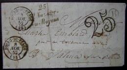 Cursive Saint-Nazaire-en-Royans Cachet Bourg Du Péage (Drôme) 1852 Lettre Taxée Boîte Rurale B - Marcophilie (Lettres)