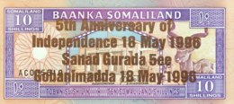 Somaliland 10 Shilin, P-9 (1994/1996) - UNC - Bronze Overprint - Somalië