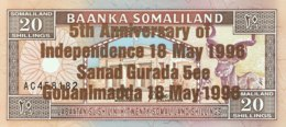 Somaliland 20 Shilin, P-10 (1994/1996) - UNC - Bronze Overprint - Somalië