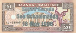 Somaliland 20 Shilin, P-16 (1994/1996) - UNC - Silver Overprint - Somalie