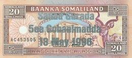 Somaliland 20 Shilin, P-16 (1994/1996) - UNC - Silver Overprint - Somalia