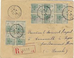FRANCE - BELLE ENVELOPPE  RECOMMANDEE AVEC BLOCS TIMBRES ORPHELINS DE GUERRE ET BELLE OBLITERATIONS- SCAN DU VERSO - 1877-1920: Période Semi Moderne
