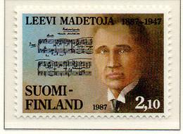 PIA - FINLANDIA  - 1987 : Centenario Della Nascita Del Compositore Leevi Madetoja - (Yv 978) - Musica