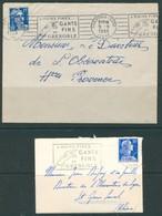 19/6 18/2 France Lettre Flamme Dreyfuss GRE319 + GRE321 A Mains Fines Gants Fins Grenoble 1955 + 1958 - Textile