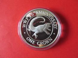 25 JAHRE WWF TURKS & CAICOS One Crown Silbermünze Silver Coin / Ag 925 PP / Tiere Animals Leguan Iguana - Turks En Caicoseilanden