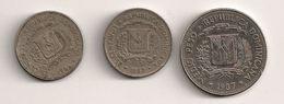 Dominicaine - 25 Centavos 1986 - 25 Centavos 1987 - Medio Peso 1987 - Dominicaine