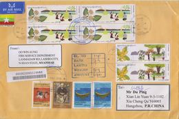 Myanmar 2019 Air Registered Mail Cover#2/Traditional Festvals And High Value Musical Instrument Definitive Stamps - Myanmar (Birma 1948-...)