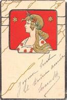 Illustrateur - Portrait De Femme Style Mucha - Art Nouveau 1901- Carte Gaufrée. - Illustrateurs & Photographes