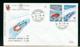 ITALIA - FDC - 1966 -  CAMPIONATO MONDIALE BOB CORTINA - 6. 1946-.. Repubblica
