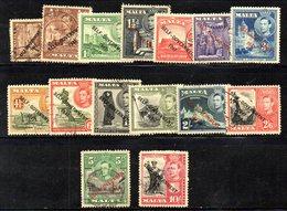 CI1061B - MALTA 1935 , Giorgio VI  Serie Unificato N. 201/215 Usata  (2380A) . Self Government - Malta