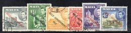 CI1082 - MALTA 1953 , Giorgio VI  Serie Unificato N. 228/233 Usata  (2380A) . Self Government - Malta