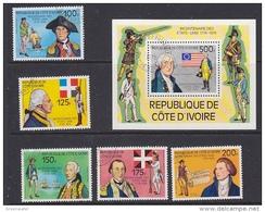 Cote D'Ivoire 1976 US Bicentennial 5v + M/s Used (42940D) - Ivoorkust (1960-...)