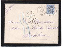 Sage 25c Sur Lettre D'algérie De 1877 - Cachet 'Affranchissement Insuffisant' + Taxe Manuscrite - Marcophilie (Lettres)