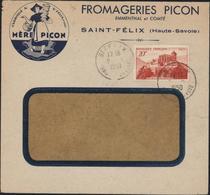 Enveloppe Illustrée Fromageries Picon Emmental Comté Fromages Saint St Félix Haute Savoie Mère Picon YT 841 A CAD 2 5 50 - Marcophilie (Lettres)