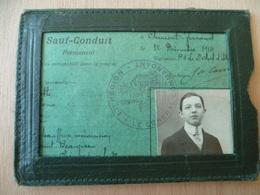 SAUF CONDUIT 1914  DANS POCHETTE PUBLICITE ESSENCE HUILE SAXOL - Vieux Papiers