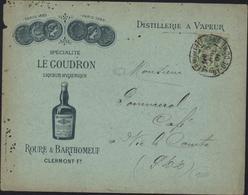 Enveloppe Illustrée Liqueur Goudron Roure Barthomeuf Clermont Ferrand Distillerie Vapeur YT 102 Sage Vert Jaune Alcool - Storia Postale