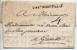 Marque Linéaire DE St MARCELLIN Sur Lettre De 1761 - 1701-1800: Precursores XVIII