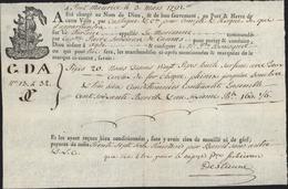 Connaissement Port Maurice Italie S/ Tartane La Marianne Capitaine Pierre Subeiran Cannes Pour Agde 20 Pipes Huile 1791 - Alimentaire