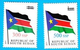 SOUTH SUDAN 2017 Surcharge Overprint VARIETY Thin Font 300 & 500 SSP On 1 SSP Flag Stamp Südsudan Soudan Du Sud - South Sudan