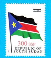 SOUTH SUDAN 2017 Surcharge Overprint VARIETY Thin Font 300 SSP On 1 SSP Flag Stamp Südsudan Soudan Du Sud - Zuid-Soedan