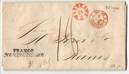 CaD D'entrée Rouge 'PRUSSE 2 VALENCIENNES 2' De 1848 Sur Lettre De Varsovie (Pologne) - Marcophilie (Lettres)