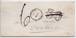 Lettre D'Ecouen De 1872 Avec Taxe Double-traits 30 Annulé Et Remplacé Par Taxe Manuscrite 6 - 1849-1876: Periodo Classico