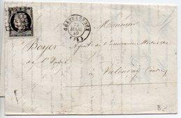 Cérès 20c Noir Oblitéré Grille Sur Lettre De Chateauroux (Indre) Du 12 Mars 1849 - Marcophilie (Lettres)