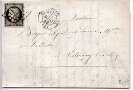 Cérès 20c Noir Oblitéré Grille Sur Lettre De Chateauroux (Indre) Du 28 Mars 1849 - Postmark Collection (Covers)