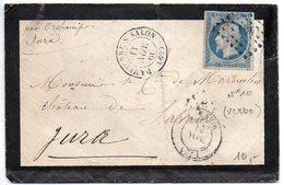 République 25c Sur Lettre De 'Dampierre S Salon' De De 1866 (Usage Tardif) - Nombreux Cachets Au Verso - Marcophilie (Lettres)