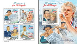 SIERRA LEONE 2019 MNH Joe DiMaggio Baseball Marilyn Monroe M/S+S/S - OFFICIAL ISSUE - DH1921 - Base-Ball